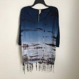 New Gimmicks by BKE Blue Black Tie Dye Tassel Top